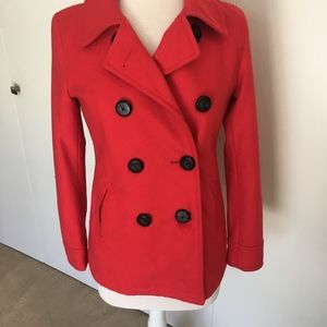 Old Navy Red Peacoat Jacket Black Buttons